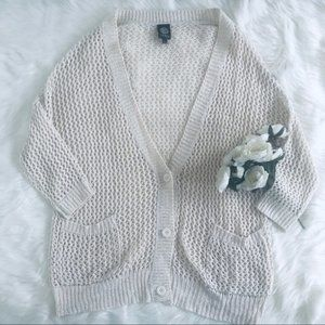 Bobeau | Cream Loose Knit Cardigan